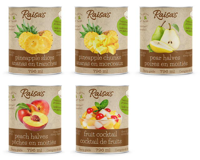 Raisa's canned fruit range